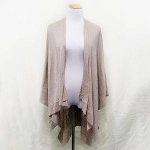 Eileen Fisher tan linen wool shawl wrap beige open